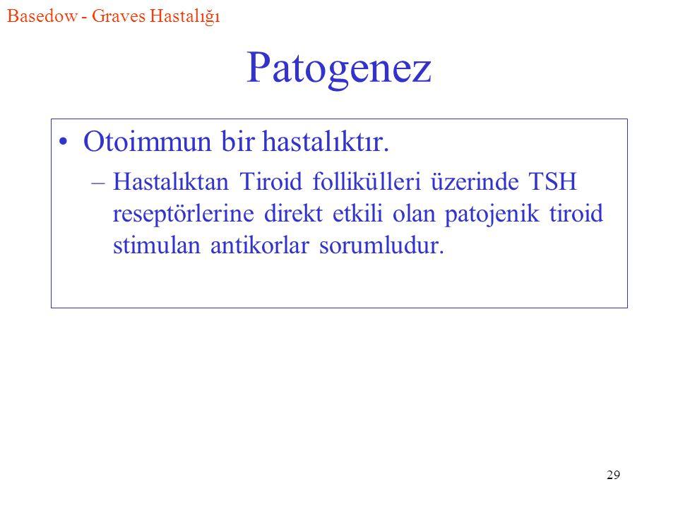29 Patogenez Otoimmun bir hastalıktır. –Hastalıktan Tiroid follikülleri üzerinde TSH reseptörlerine direkt etkili olan patojenik tiroid stimulan antik