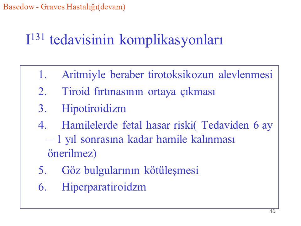 40 I 131 tedavisinin komplikasyonları 1. Aritmiyle beraber tirotoksikozun alevlenmesi 2. Tiroid fırtınasının ortaya çıkması 3. Hipotiroidizm 4. Hamile
