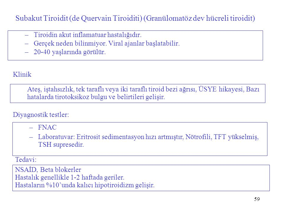 59 Subakut Tiroidit (de Quervain Tiroiditi) (Granülomatöz dev hücreli tiroidit) –Tiroidin akut inflamatuar hastalığıdır.