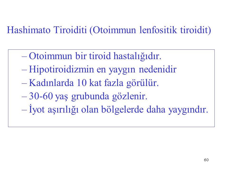 60 Hashimato Tiroiditi (Otoimmun lenfositik tiroidit) –Otoimmun bir tiroid hastalığıdır. –Hipotiroidizmin en yaygın nedenidir –Kadınlarda 10 kat fazla