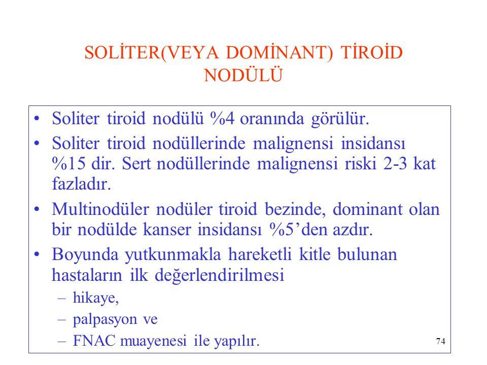 74 SOLİTER(VEYA DOMİNANT) TİROİD NODÜLÜ Soliter tiroid nodülü %4 oranında görülür. Soliter tiroid nodüllerinde malignensi insidansı %15 dir. Sert nodü