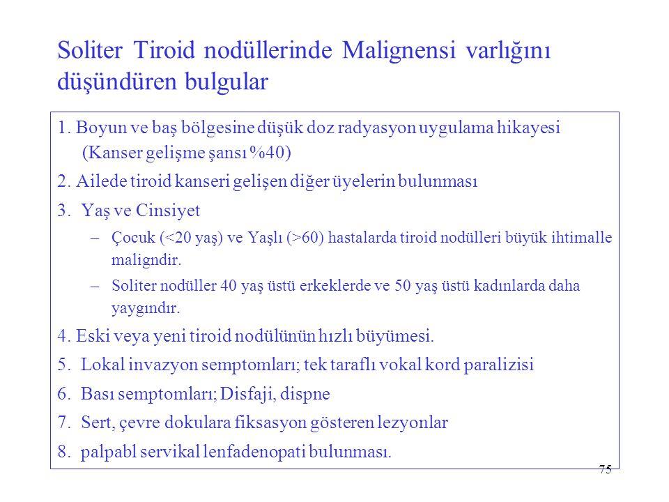 75 Soliter Tiroid nodüllerinde Malignensi varlığını düşündüren bulgular 1. Boyun ve baş bölgesine düşük doz radyasyon uygulama hikayesi (Kanser gelişm