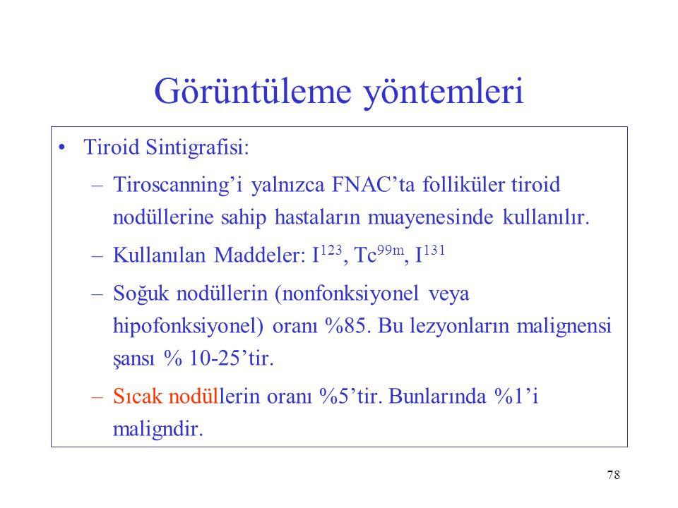 78 Görüntüleme yöntemleri Tiroid Sintigrafisi: –Tiroscanning'i yalnızca FNAC'ta folliküler tiroid nodüllerine sahip hastaların muayenesinde kullanılır