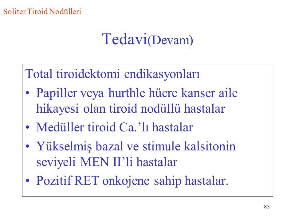 83 Tedavi (Devam) Total tiroidektomi endikasyonları Papiller veya hurthle hücre kanser aile hikayesi olan tiroid nodüllü hastalar Medüller tiroid Ca.'lı hastalar Yükselmiş bazal ve stimule kalsitonin seviyeli MEN II'li hastalar Pozitif RET onkojene sahip hastalar.