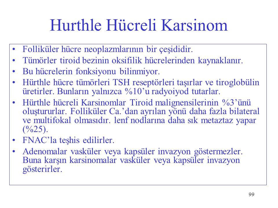 99 Hurthle Hücreli Karsinom Folliküler hücre neoplazmlarının bir çeşididir. Tümörler tiroid bezinin oksifilik hücrelerinden kaynaklanır. Bu hücrelerin