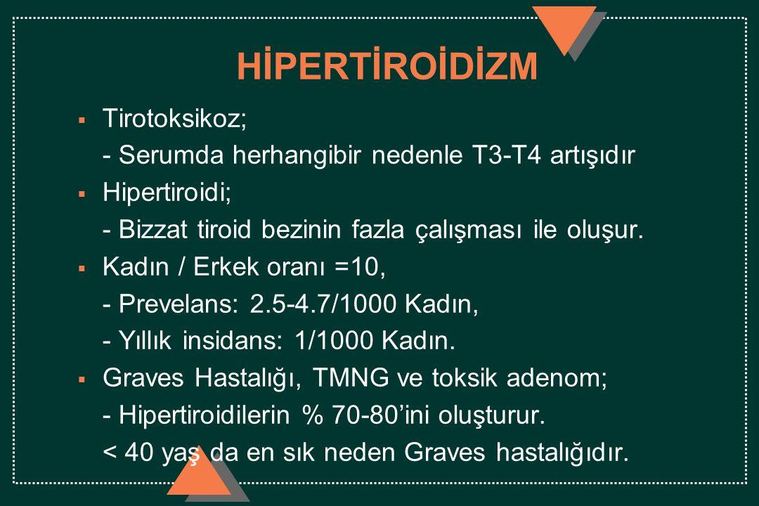 HİPERTİROİDİZM  Tirotoksikoz; - Serumda herhangibir nedenle T3-T4 artışıdır  Hipertiroidi; - Bizzat tiroid bezinin fazla çalışması ile oluşur.  Kad