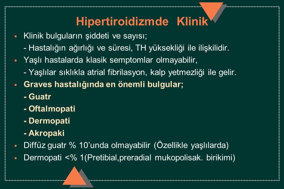 Hipertiroidizmde Klinik  Klinik bulguların şiddeti ve sayısı; - Hastalığın ağırlığı ve süresi, TH yüksekliği ile ilişkilidir.