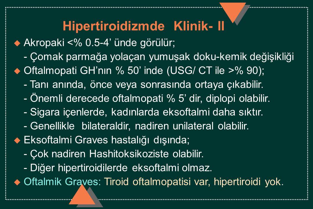Hipertiroidizmde Klinik- II u Akropaki <% 0.5-4' ünde görülür; - Çomak parmağa yolaçan yumuşak doku-kemik değişikliği u Oftalmopati GH'nın % 50' inde (USG/ CT ile >% 90); - Tanı anında, önce veya sonrasında ortaya çıkabilir.