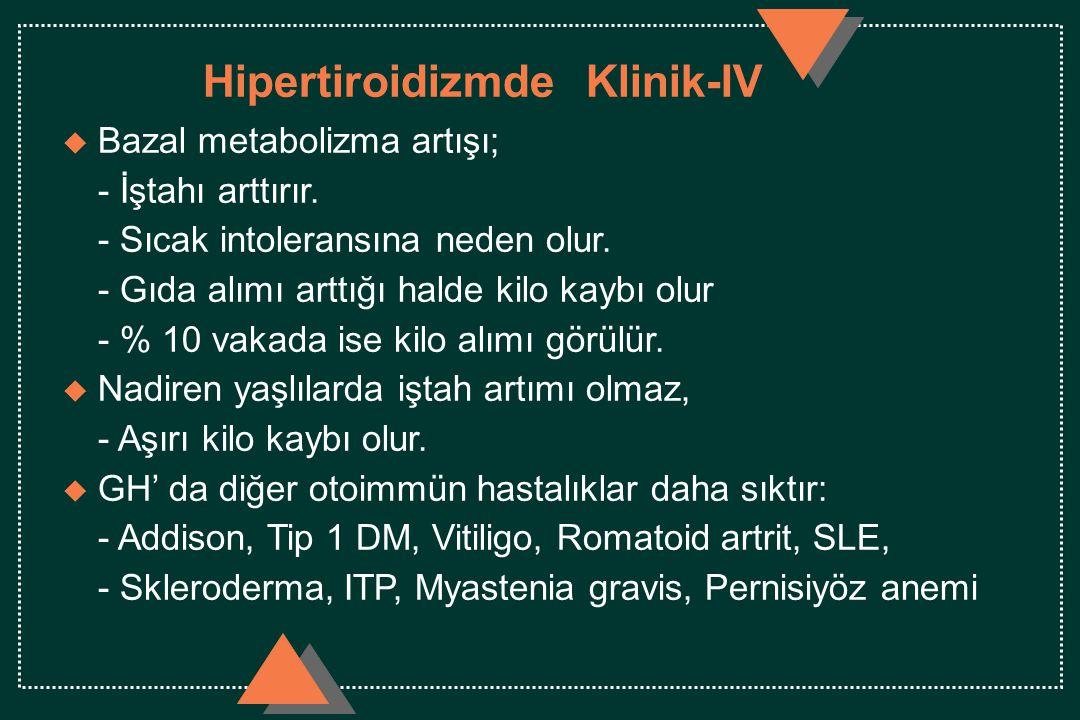 Hipertiroidizmde Klinik-IV u Bazal metabolizma artışı; - İştahı arttırır. - Sıcak intoleransına neden olur. - Gıda alımı arttığı halde kilo kaybı olur