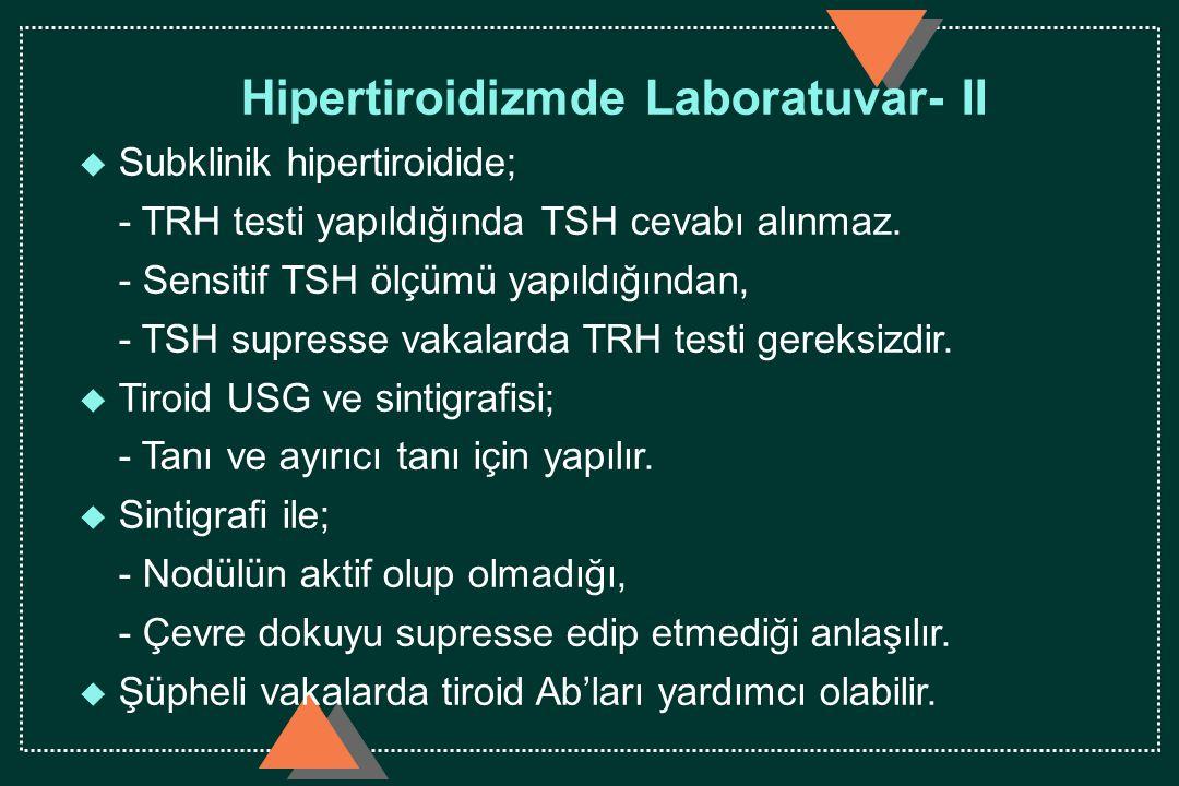 Hipertiroidizmde Laboratuvar- II u Subklinik hipertiroidide; - TRH testi yapıldığında TSH cevabı alınmaz. - Sensitif TSH ölçümü yapıldığından, - TSH s