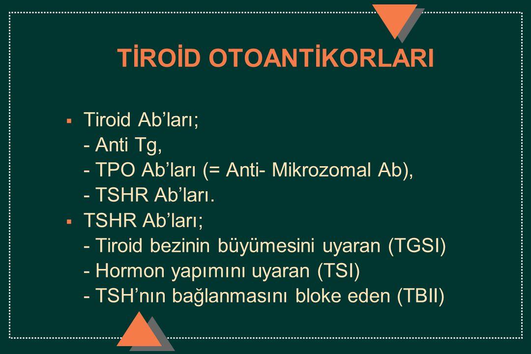 TİROİD OTOANTİKORLARI  Tiroid Ab'ları; - Anti Tg, - TPO Ab'ları (= Anti- Mikrozomal Ab), - TSHR Ab'ları.  TSHR Ab'ları; - Tiroid bezinin büyümesini