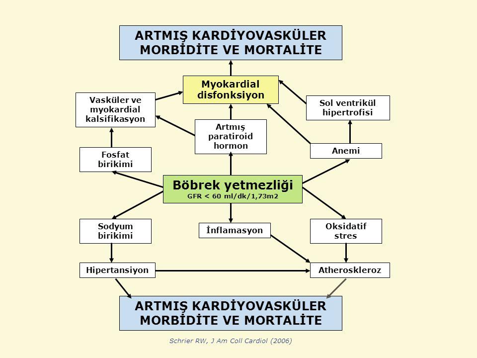 ARTMIŞ KARDİYOVASKÜLER MORBİDİTE VE MORTALİTE Böbrek yetmezliği GFR < 60 ml/dk/1,73m2 Myokardial disfonksiyon Sol ventrikül hipertrofisi Vasküler ve myokardial kalsifikasyon Artmış paratiroid hormon Anemi Fosfat birikimi İnflamasyon Sodyum birikimi Hipertansiyon Oksidatif stres Atheroskleroz ARTMIŞ KARDİYOVASKÜLER MORBİDİTE VE MORTALİTE Schrier RW, J Am Coll Cardiol (2006)