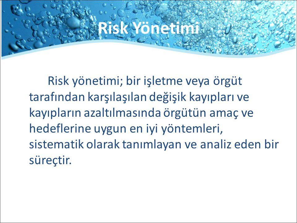 Risk Yönetimi Risk yönetimi; bir işletme veya örgüt tarafından karşılaşılan değişik kayıpları ve kayıpların azaltılmasında örgütün amaç ve hedeflerine