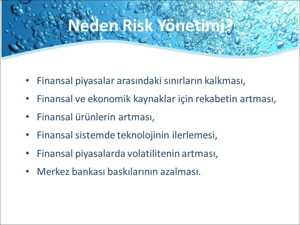 Neden Risk Yönetimi? Finansal piyasalar arasındaki sınırların kalkması, Finansal ve ekonomik kaynaklar için rekabetin artması, Finansal ürünlerin artm