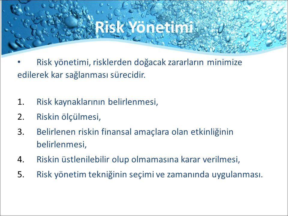 Risk Yönetimi Risk yönetimi, risklerden doğacak zararların minimize edilerek kar sağlanması sürecidir. 1.Risk kaynaklarının belirlenmesi, 2.Riskin ölç