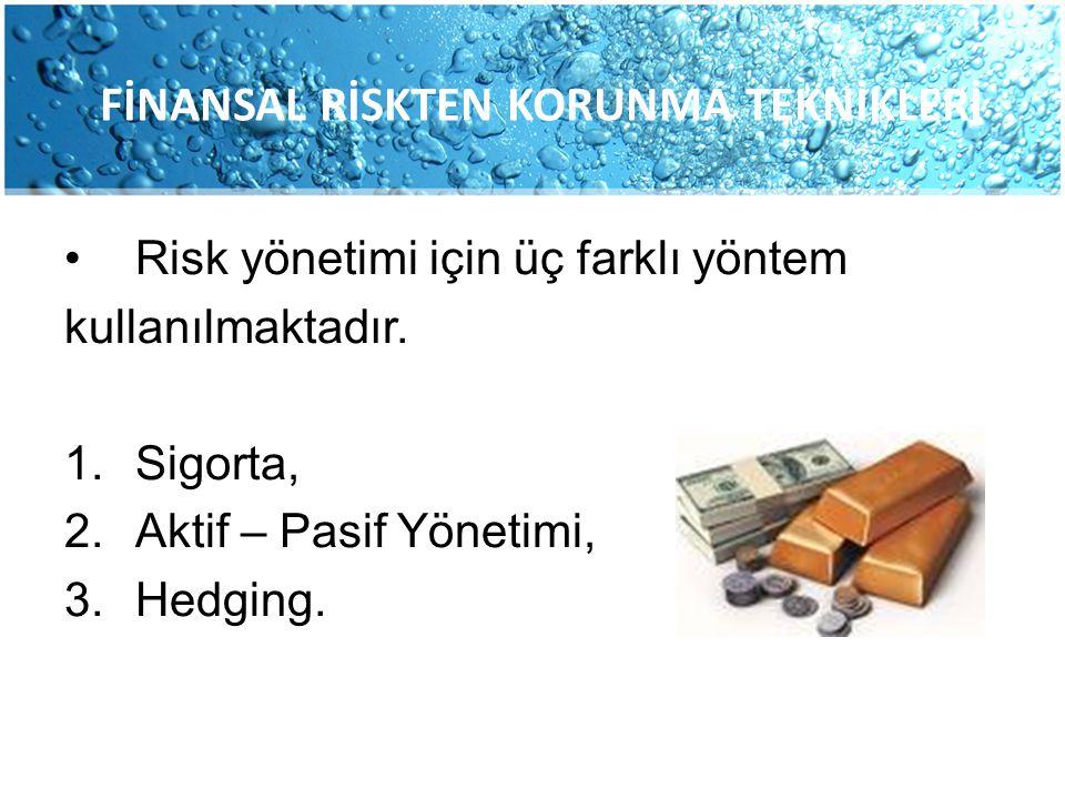 Risk yönetimi için üç farklı yöntem kullanılmaktadır. 1.Sigorta, 2.Aktif – Pasif Yönetimi, 3.Hedging. FİNANSAL RİSKTEN KORUNMA TEKNİKLERİ