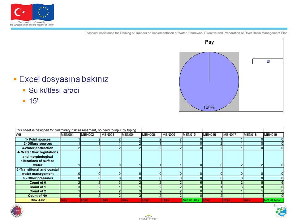  Excel dosyasına bakınız  Su kütlesi aracı  15'