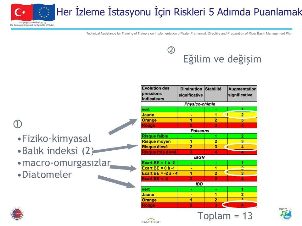 Fiziko-kimyasal Balık indeksi (2) macro-omurgasızlar Diatomeler Toplam = 13 Eğilim ve değişim  Her İzleme İstasyonu İçin Riskleri 5 Adımda Puanlamak 