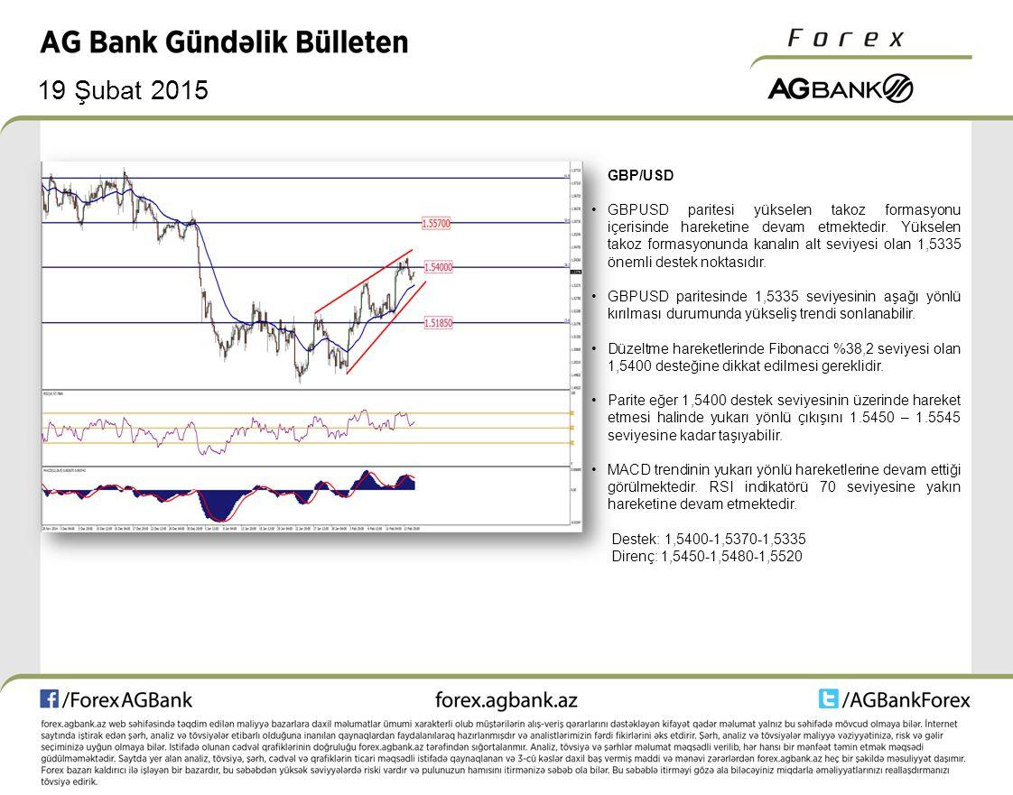 19 Şubat 2015 GBP/USD GBPUSD paritesi yükselen takoz formasyonu içerisinde hareketine devam etmektedir. Yükselen takoz formasyonunda kanalın alt seviy