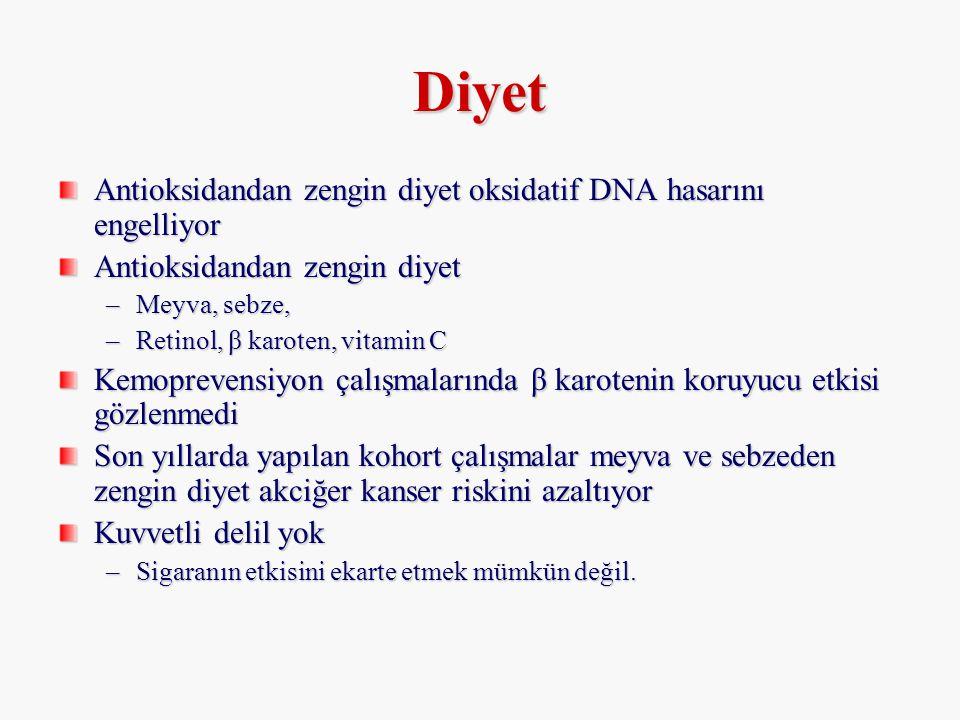 Diyet Antioksidandan zengin diyet oksidatif DNA hasarını engelliyor Antioksidandan zengin diyet –Meyva, sebze, –Retinol, β karoten, vitamin C Kemoprev