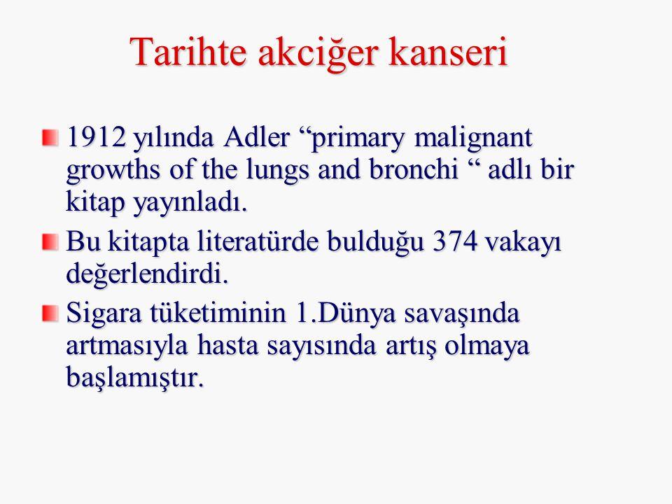 """Tarihte akciğer kanseri 1912 yılında Adler """"primary malignant growths of the lungs and bronchi """" adlı bir kitap yayınladı. Bu kitapta literatürde buld"""