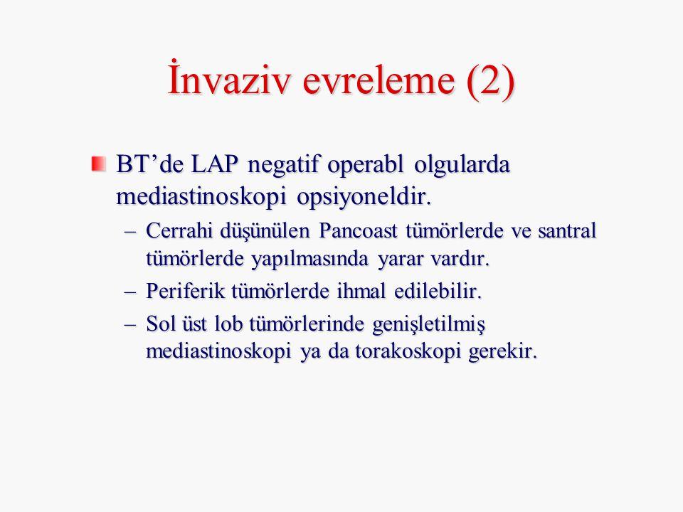 BT'de LAP negatif operabl olgularda mediastinoskopi opsiyoneldir. –Cerrahi düşünülen Pancoast tümörlerde ve santral tümörlerde yapılmasında yarar vard