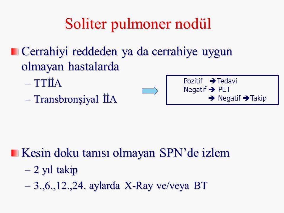 Soliter pulmoner nodül Cerrahiyi reddeden ya da cerrahiye uygun olmayan hastalarda –TTİİA –Transbronşiyal İİA Kesin doku tanısı olmayan SPN'de izlem –