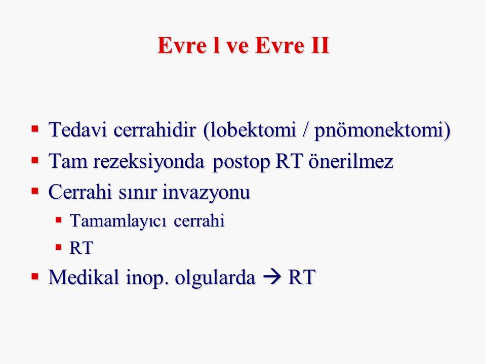 Evre l ve Evre II  Tedavi cerrahidir (lobektomi / pnömonektomi)  Tam rezeksiyonda postop RT önerilmez  Cerrahi sınır invazyonu  Tamamlayıcı cerrah