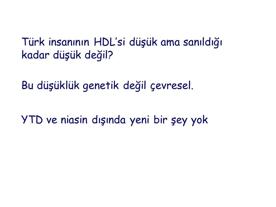 Türk insanının HDL'si düşük ama sanıldığı kadar düşük değil? Bu düşüklük genetik değil çevresel. YTD ve niasin dışında yeni bir şey yok