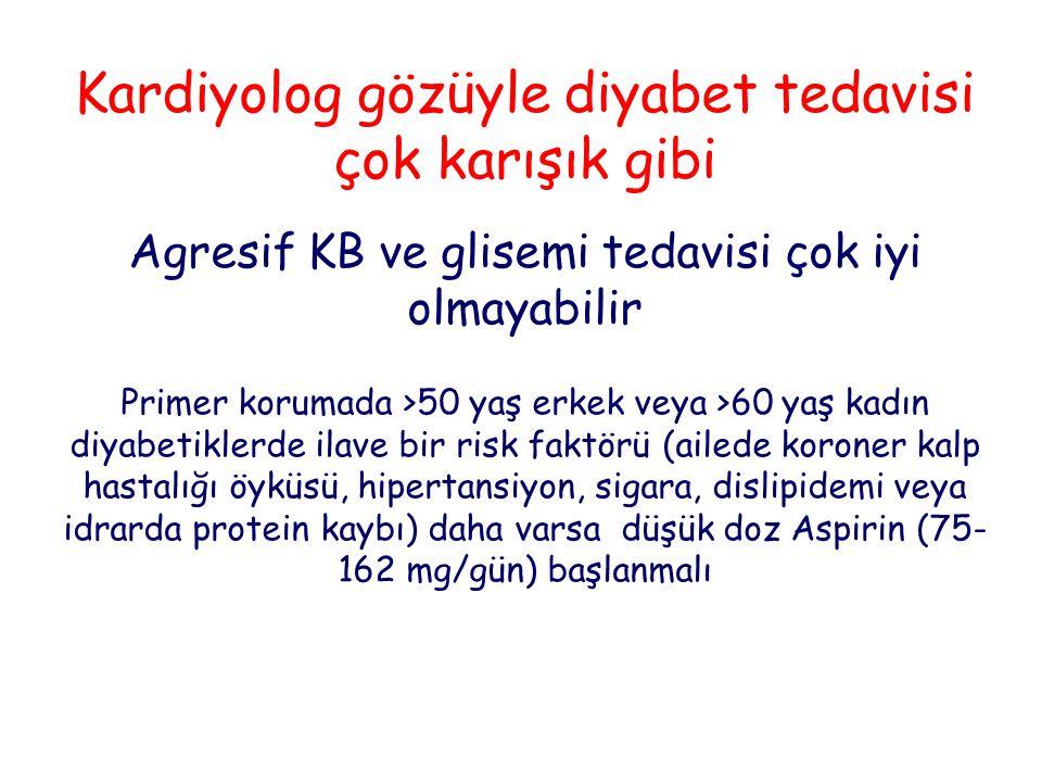 Kardiyolog gözüyle diyabet tedavisi çok karışık gibi Agresif KB ve glisemi tedavisi çok iyi olmayabilir Primer korumada >50 yaş erkek veya >60 yaş kad