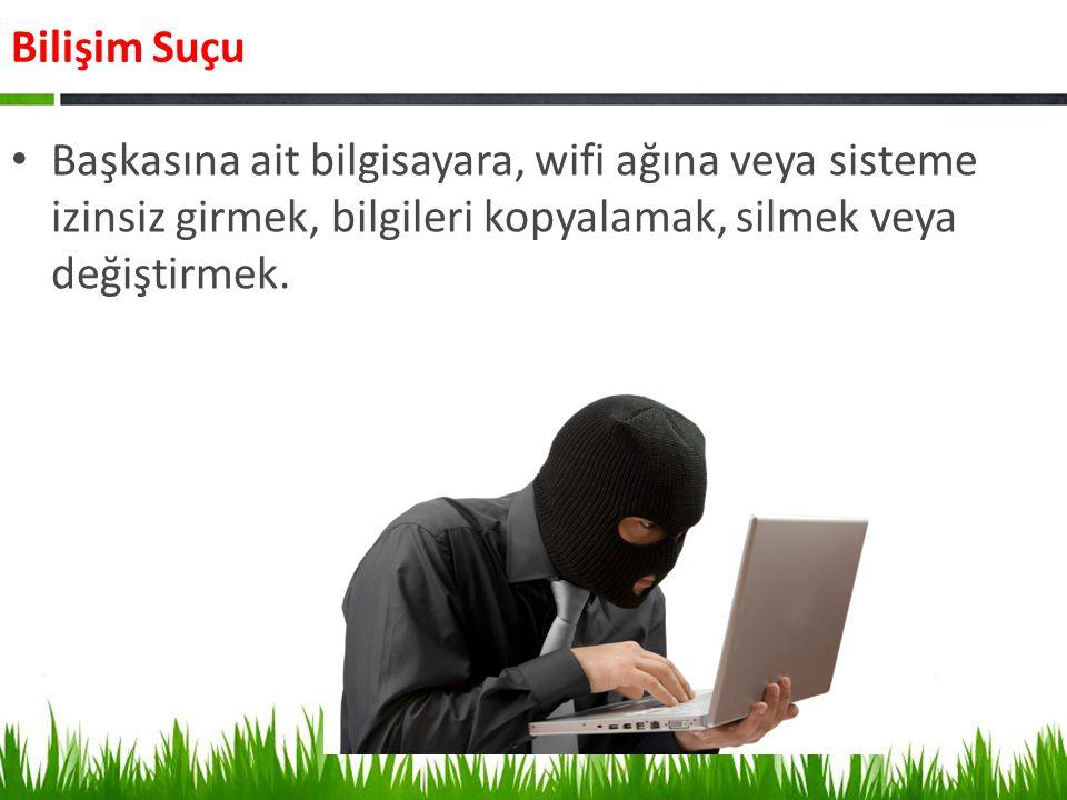 Bilişim Suçu Sosyal ağlarda, internet sitelerinde kişi ya da kuruluşa hakaret, küfür etmek veya aşağılayıcı ifadeler kullanmak.