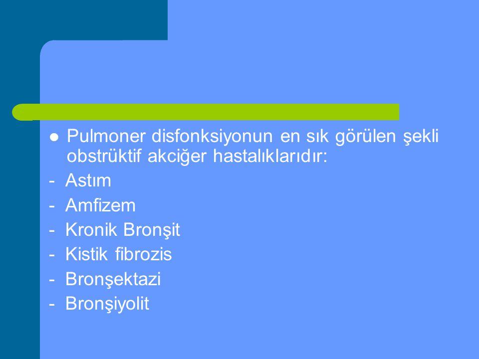 Pulmoner disfonksiyonun en sık görülen şekli obstrüktif akciğer hastalıklarıdır: - Astım - Amfizem - Kronik Bronşit - Kistik fibrozis - Bronşektazi -
