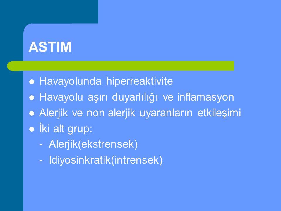 ASTIM Havayolunda hiperreaktivite Havayolu aşırı duyarlılığı ve inflamasyon Alerjik ve non alerjik uyaranların etkileşimi İki alt grup: - Alerjik(ekst
