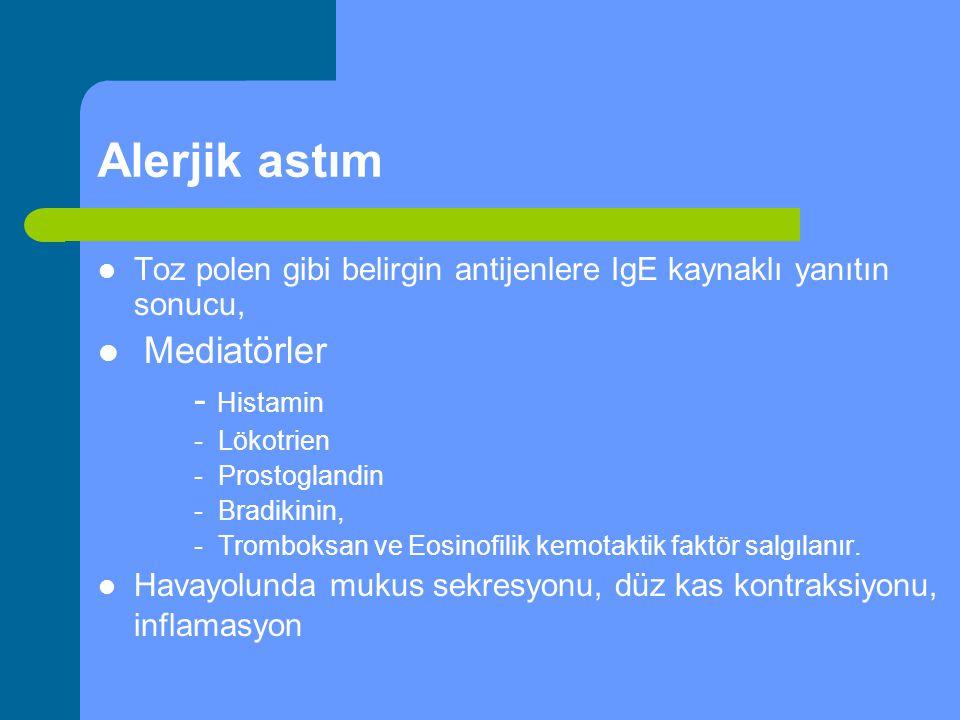 Alerjik astım Toz polen gibi belirgin antijenlere IgE kaynaklı yanıtın sonucu, Mediatörler - Histamin - Lökotrien - Prostoglandin - Bradikinin, - Trom