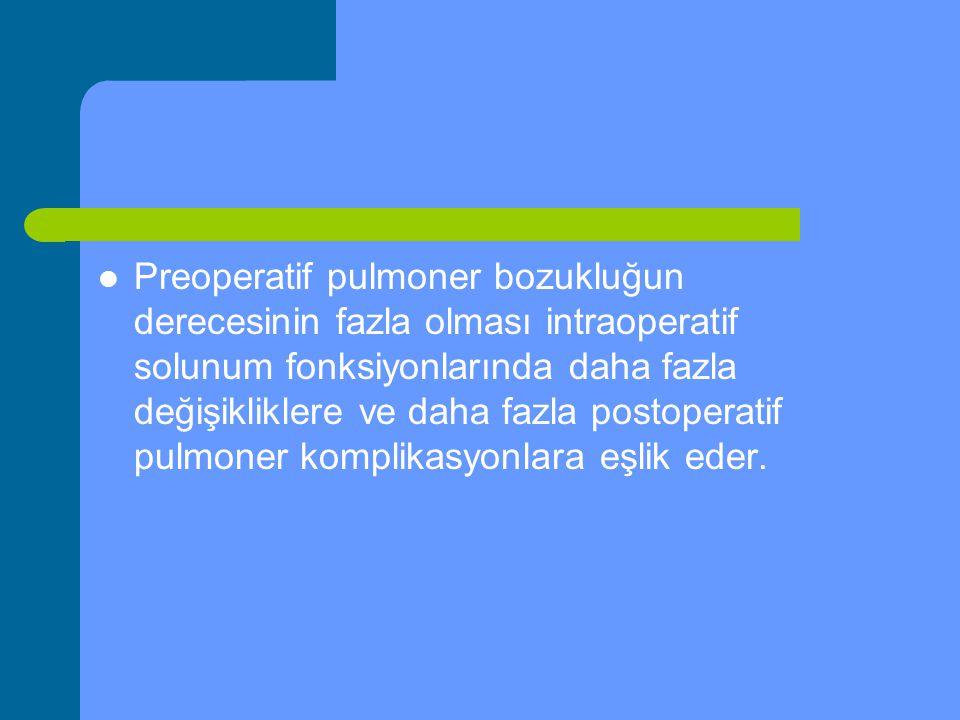 Preoperatif pulmoner bozukluğun derecesinin fazla olması intraoperatif solunum fonksiyonlarında daha fazla değişikliklere ve daha fazla postoperatif p