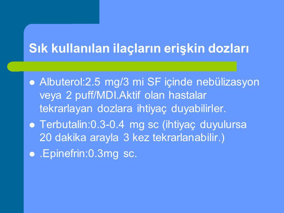 Sık kullanılan ilaçların erişkin dozları Albuterol:2.5 mg/3 mi SF içinde nebülizasyon veya 2 puff/MDI.Aktif olan hastalar tekrarlayan dozlara ihtiyaç