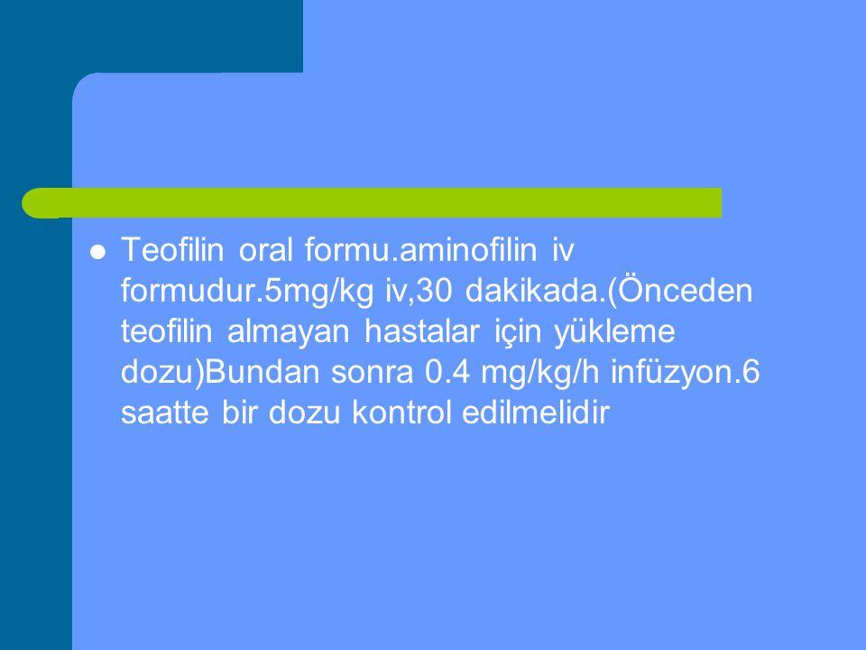 Teofilin oral formu.aminofilin iv formudur.5mg/kg iv,30 dakikada.(Önceden teofilin almayan hastalar için yükleme dozu)Bundan sonra 0.4 mg/kg/h infüzyo