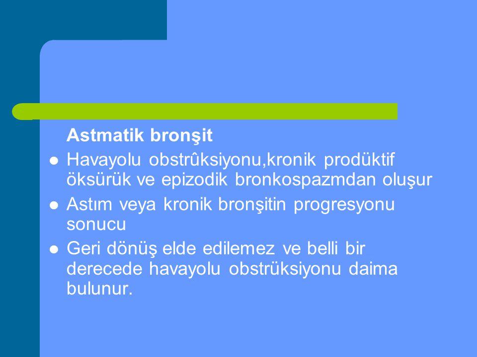 Astmatik bronşit Havayolu obstrûksiyonu,kronik prodüktif öksürük ve epizodik bronkospazmdan oluşur Astım veya kronik bronşitin progresyonu sonucu Geri