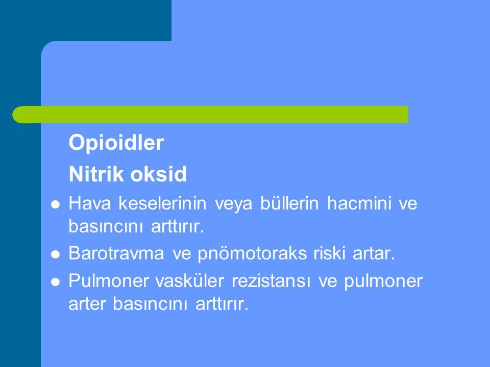Opioidler Nitrik oksid Hava keselerinin veya büllerin hacmini ve basıncını arttırır. Barotravma ve pnömotoraks riski artar. Pulmoner vasküler rezistan