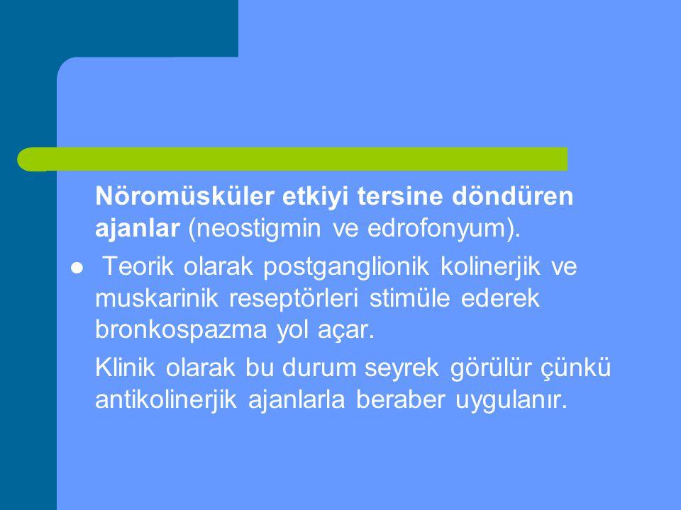 Nöromüsküler etkiyi tersine döndüren ajanlar (neostigmin ve edrofonyum). Teorik olarak postganglionik kolinerjik ve muskarinik reseptörleri stimüle ed