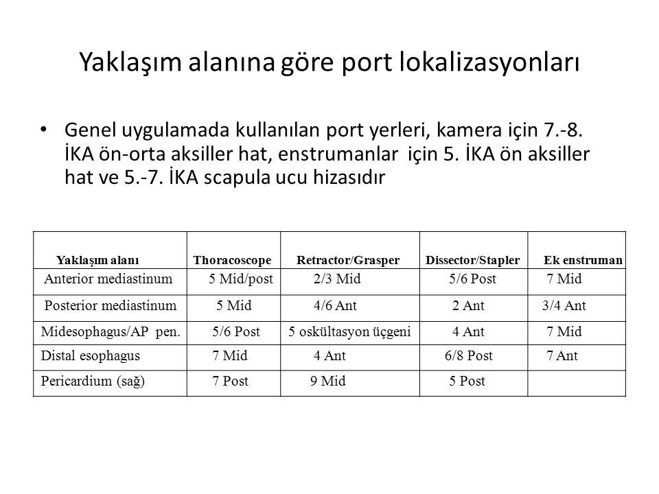 Yaklaşım alanına göre port lokalizasyonları Genel uygulamada kullanılan port yerleri, kamera için 7.-8.