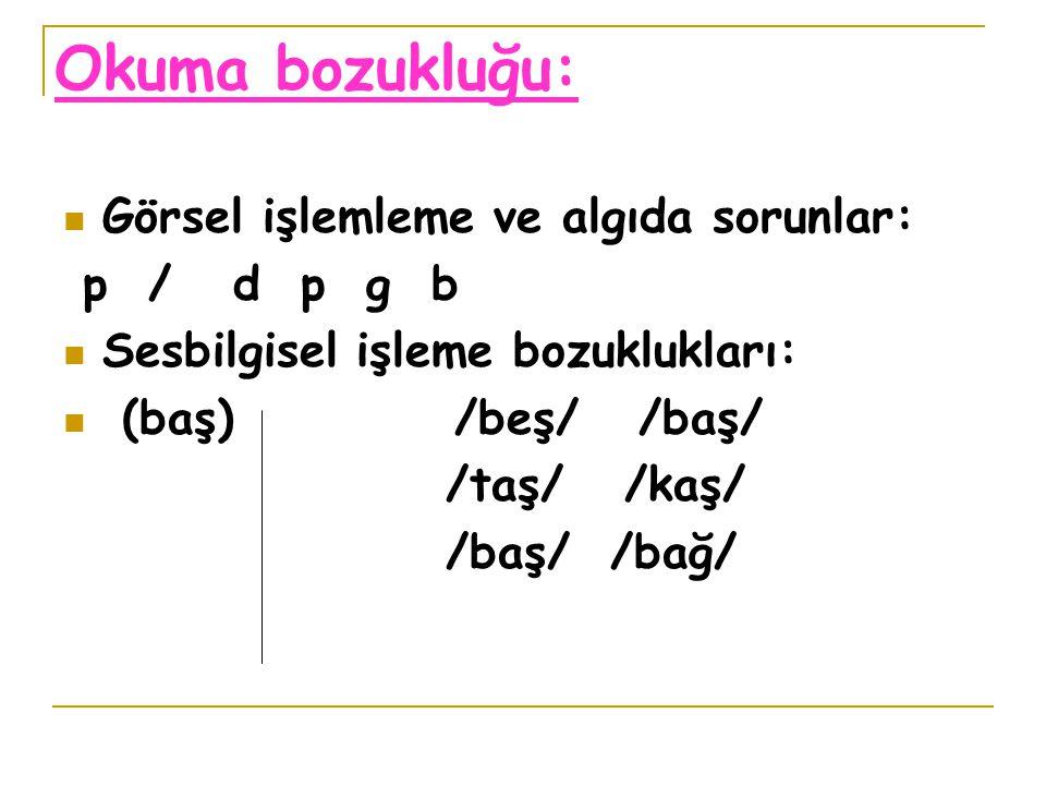 Okuma bozukluğu: Görsel işlemleme ve algıda sorunlar: p / d p g b Sesbilgisel işleme bozuklukları: (baş) /beş/ /baş/ /taş/ /kaş/ /baş/ /bağ/