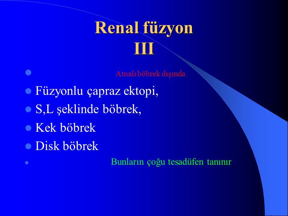 Renal füzyon III Atnalı böbrek dışında Füzyonlu çapraz ektopi, S,L şeklinde böbrek, Kek böbrek Disk böbrek Bunların çoğu tesadüfen tanınır