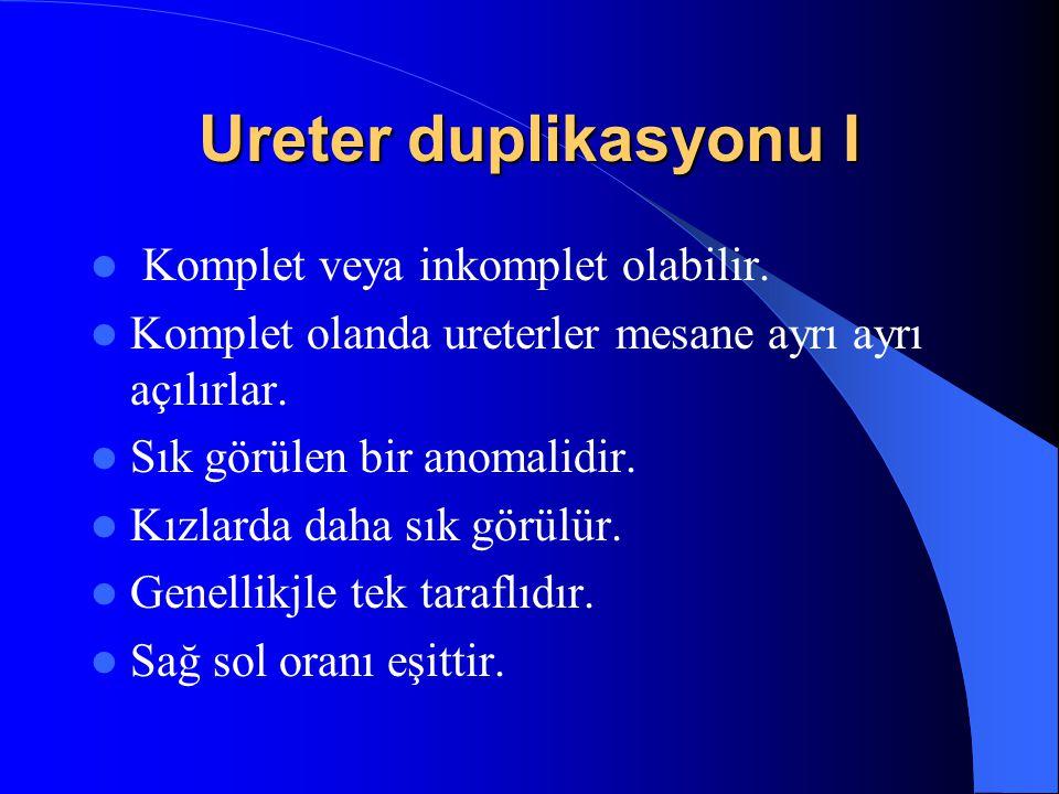 Ureter duplikasyonu I Komplet veya inkomplet olabilir. Komplet olanda ureterler mesane ayrı ayrı açılırlar. Sık görülen bir anomalidir. Kızlarda daha