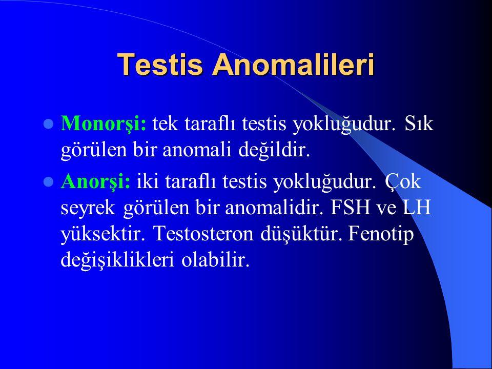 Testis Anomalileri Monorşi: tek taraflı testis yokluğudur. Sık görülen bir anomali değildir. Anorşi: iki taraflı testis yokluğudur. Çok seyrek görülen
