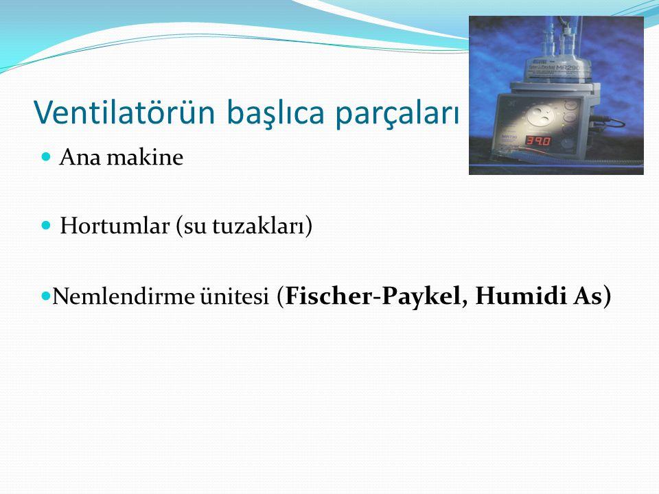 Ventilatörün başlıca parçaları Ana makine Hortumlar (su tuzakları) Nemlendirme ünitesi ( Fischer-Paykel, Humidi As)