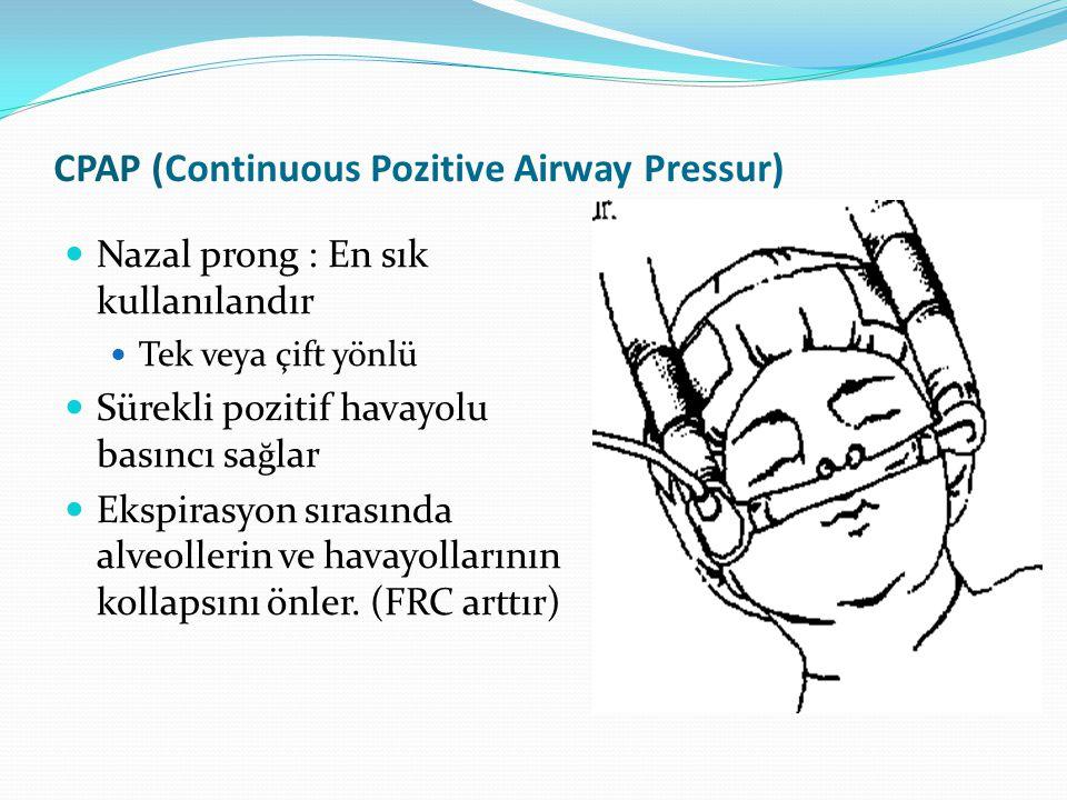 CPAP (Continuous Pozitive Airway Pressur) Nazal prong : En sık kullanılandır Tek veya çift yönlü Sürekli pozitif havayolu basıncı sa ğ lar Ekspirasyon