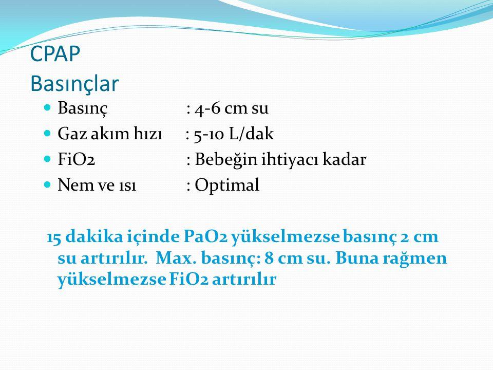 CPAP Basınçlar Basınç: 4-6 cm su Gaz akım hızı : 5-10 L/dak FiO2: Bebeğin ihtiyacı kadar Nem ve ısı : Optimal 15 dakika içinde PaO2 yükselmezse basınç