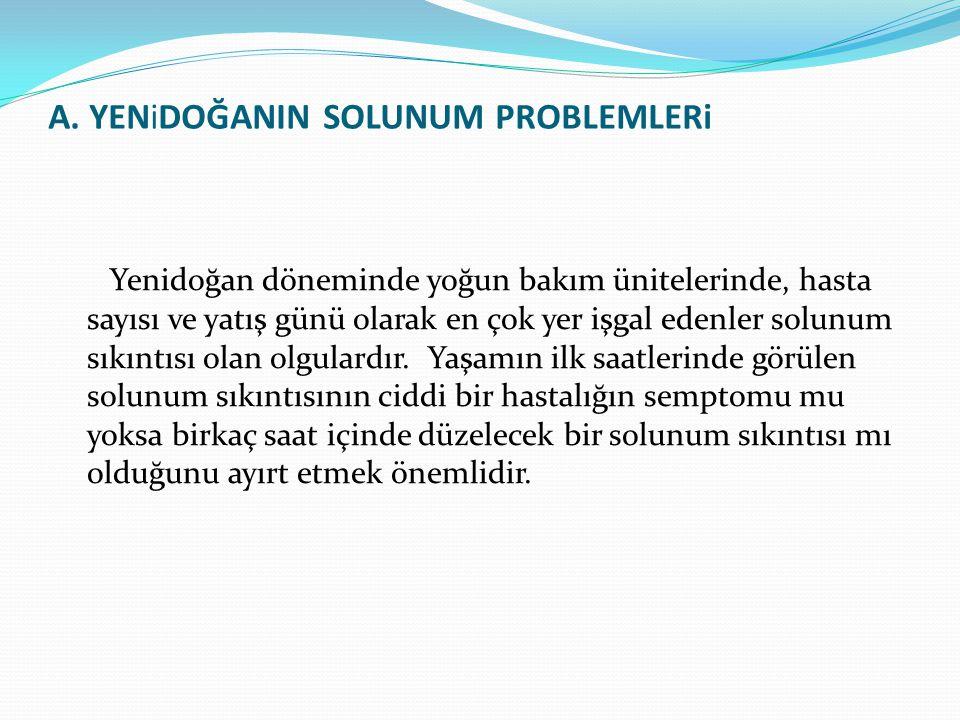 A. YENiDOĞANIN SOLUNUM PROBLEMLERi Yenidoğan döneminde yoğun bakım ünitelerinde, hasta sayısı ve yatış günü olarak en çok yer işgal edenler solunum sı