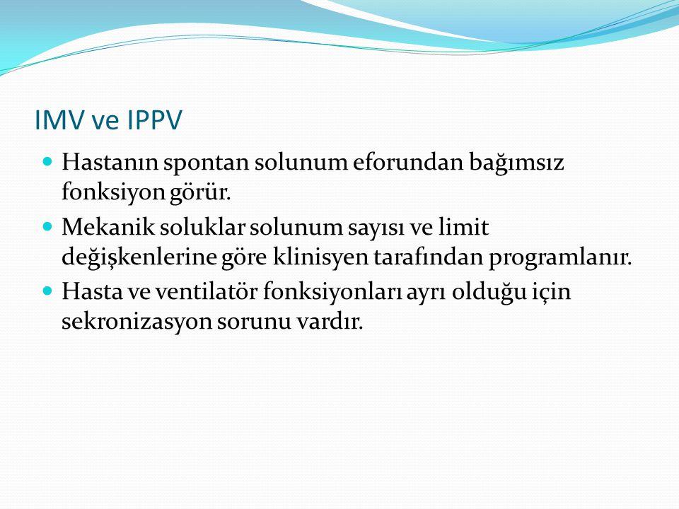 IMV ve IPPV Hastanın spontan solunum eforundan bağımsız fonksiyon görür. Mekanik soluklar solunum sayısı ve limit değişkenlerine göre klinisyen tarafı